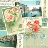 Postkarten aus Venedig, Rosen, Nelken & Musiknoten - Postcards from Venice, roses, carnations & music notes - Cartes postales de Venise, roses, oeillets et notes de musique