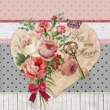 Herz, Schlüssel, Rosen & andere Blumen - Heart, key, roses & other flowers - Coeur, clé, roses et autres fleurs