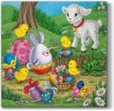 Bunte Osterzeit mit Lamm, Küken & Ostereiern - Colorful Easter season with lamb, chicks & Easter eggs - Saison de Pâques colorée avec agneau, poussins et oeufs de Pâques