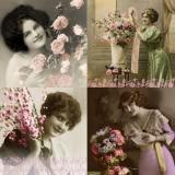 Nostalgische Frauen mit Rosen - Nostalgic women with roses - Femmes nostalgiques avec des roses