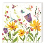 bunte Blumenwiese & 4 Fantasievögel - colorful flower meadow & 4 fantasy birds - prairie de fleurs colorées et 4 oiseaux de fantaisie