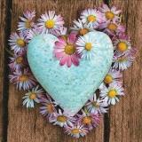 Herz mit schönen Margeritenkranz auf Holz - Heart with beautiful marguerite wreath on wood - Coeur avec belle marguerite couronne sur bois