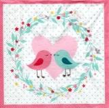 2 verliebte Vögel, Herz & Blumenkranz - 2 birds in love, heart & flower wreath - 2 oiseaux amoureux, cœur et couronne de fleurs
