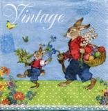 2 Hasen, Korb mit bunten Eiern & Blumen, Vintage Style - 2 bunnies, basket of colorful eggs & flowers, vintage style - 2 lapins, panier doeufs colorés et fleurs, style vintage
