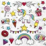 Einhorn, Tauben, Eis, Lutscher,Donut, Regenbogen, Diamanten, Muffin, Sterne & Girlande - Unicorn, doves, ice cream, lollipops, donut, rainbow, diamonds, muffin, stars & garland - Licorne, colombes, cr