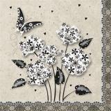 schwarz weisse Fantasieblumen mit einen Schmetterling und kleinen Herzen - black and white fantasy flowers with a butterfly and small hearts - fleurs fantaisie noir et blanc avec un papillon et petits