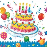 Geburtstagstorte mit 4 Kerzen & Luftballons - Birthday cake with 4 candles & balloons - Gâteau d anniversaire avec 4 bougies et ballons