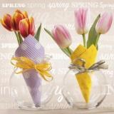 Tulpen in 2 Glasvasen & 2 Servietten - Tulips in 2 glass vases & 2 napkins - Tulipes dans 2 vases en verre et 2 serviettes
