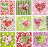 9 kleine Herzen mit schönen Mustern und Blumen - 9 little hearts with beautiful patterns and flowers - 9 petits coeurs avec de beaux motifs et fleurs