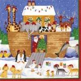 Caspari - Arche Noah feiert Weihnachten mit dem Weihnachtsmann - Noahs Ark celebrates Christmas with Santa - L arche de Noé célèbre Noël avec le Père Noël