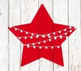 roter Stern mit Lichterkette vor einer Holzwand - red star with fairy lights in front of a wooden wall - étoile rouge avec des guirlandes de lumière devant un mur en bois