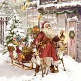 Weihnachtsmann mit seinen Schlitten bringt Geschenke nach Hause - Santa with his sled brings gifts home - Père Noël avec son traîneau apporte des cadeaux à la maison