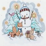 Schneeman und seine Tierfreunde - Snowman and his animal friends - Bonhomme de neige et ses amis les animaux