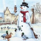 Enten besuchen den Schneemann - Ducks visit the snowman - Les canards visitent le bonhomme de neige