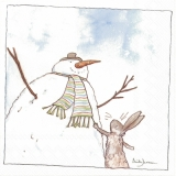 Hase besucht Schneemann - Hare visits snowman - Lièvre visite bonhomme de neige