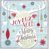 Hirschsilhouette & Fröhliche Weihnachten - Deer Silhouette & Merry Christmas - Silhouette de cerf et joyeux Noël