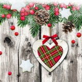kariertes Herz vor einer Holzwand & Tannenzweige - checkered heart in front of a wooden wall & fir branches - coeur damier devant un mur en bois et branches de sapin
