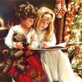2 nostalgische Kinder lesen am Weihnachtsbaum - 2 nostalgische Kinder lesen am Weihnachtsbaum - 2 enfants nostalgiques lisant à l arbre de Noël