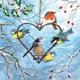 5 Vöglein & Herz aus Eisen & Meisenknödel -  5 birds & heart made of iron & dumplings - 5 oiseaux et coeur en fer et boulettes