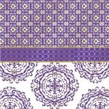 gold violettes Muster - gold violet pattern - motif violet or