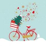 Fahrrad mit Tannenbaum & Geschenke im Korb - Bicycle with fir tree & presents in the basket - Vélo avec sapin et cadeaux dans le panier