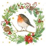 Rotkehlchen sitzt im winterlichen Kranz - Robin sits in winter wreath - Robin est assis dans une couronne d hiver