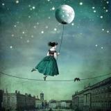 Mondseiltänzerin über den Dächern - Moonstrider dancer over the roofs - Moonstrider danseur sur les toits