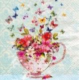 viele bunte Schmetterlinge besuchen eine Sammeltasse mit bunten Blumen - Many colorful butterflies visit a collecting cup with colorful flowers - De nombreux papillons colorés visitent une coupe avec