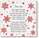 4 verschiedene Weihnachstlieder in Englisch auf einer Prägeserviette -  4 different Christmas songs in English on an embossed napkin - 4 chansons de Noël différentes en anglais sur une serviette en re