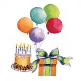 Geburtstagstorte, Geschenk & bunte Luftballons - Birthday Cake, Gift & Colorful Balloons - Gâteau d anniversaire, cadeau et ballons colorés