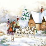 eine Kutschfahrt durch das verschneite Dorf - a carriage ride through the snowy village - une promenade en calèche à travers le village enneigé