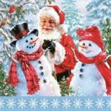 Weihnachtsmann besucht Schneemänner - Santa Claus visits snowmen - Le père Noël visite des bonhommes de neige
