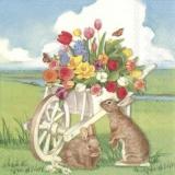 Hasen und Schmetterlinge besuchen Tulpen und andere Blumen in der Holzschubkarre - Rabbits and butterflies visit tulips and other flowers in the wooden wheelbarrow - Des lapins et des papillons visite