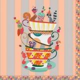 bunte Tassen mit Muffin, Gebäck & Tieren - colorful cups with muffin, biscuits & animals - tasses colorées avec muffins, biscuits et animaux