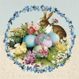 Hase, Küken, bunte Eier & Frühlingsblumen - Bunny, chicks, colorful eggs & spring flowers - Lapin, poussins, œufs colorés et fleurs printanières