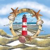 Leuchtturm, Bullauge, Seesterne, Muscheln, Möwen, Dünen & Meer - Lighthouse, porthole, starfish, shells, seagulls, dunes & sea - Phare, hublot, étoile de mer, coquillages, mouettes, dunes et mer
