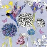 gemalter Kolibri, Schmetterling & verschiedene Blüten - painted hummingbird, butterfly & various flowers - colibri peint, papillon et fleurs diverses