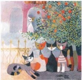Rosina Wachtmeister - Vita Familiare, Katzen sitzen unter einem Baum - Vita Familiare, cats sitting under a tree - Vita Familiare, chats assis sous un arbre