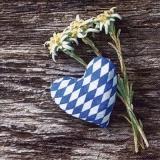 Edelweiss, blau weisses Stoffherz vor einer Holzwand - Edelweiss, blue white fabric heart in front of a wooden wall - Edelweiss, coeur de tissu bleu-blanc devant un mur en bois
