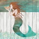 Meerjungfrau vor einer Holzwand - Mermaid in front of a wooden wall - Sirène devant un mur en bois