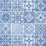 blaues Fliesenmuster - blue tile pattern - motif de carreaux bleu