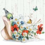 Schmetterling & Vogel besuchen einen Sommerhut voller Blumen - Butterfly & Bird visit a summer hat full of flowers - Butterfly & Bird visitent un chapeau d'été plein de fleurs -
