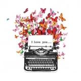 Schreibmaschine mit einen I love you Blatt & viele bunte Schmetterlinge - Typewriter with a I love you leaf & many colorful butterflies -