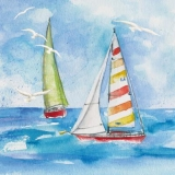 3 Segelboote auf hoher See - 3 sailboats on the high seas - 3 voiliers en haute mer