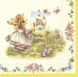 kleines Häschen malt ein Osterei - little bunny paints an easter egg - petit lapin peint un oeuf de pâques