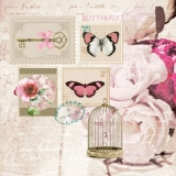 Briefmarken mit Schmetterlingen, Rosen, Vogelkäfig & Geschriebenes - Stamps with butterflies, roses, birdcage & written - Timbres avec papillons, roses, cage à oiseaux et écrits