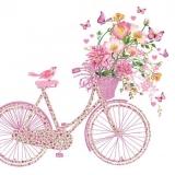 Vöglein sitzt auf einen Blumenfahrrad und bestaunt bunte Schmetterlinge - Little bird sits on a flower bike and admires colorful butterflies - Petit oiseau est assis sur un vélo de fleur et admire les