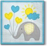 Elefant mit Luftballons, Sonne & Wolke in hellblau - Elephant with balloons, sun & cloud in light blue - Éléphant avec ballons, soleil et nuage en bleu clair