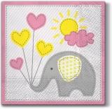 Elefant mit Luftballons, Sonne & Wolke in hellrosa - Elephant with balloons, sun & cloud in light pink - Éléphant avec ballons, soleil et nuage en rose pâle