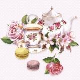 verzierte Teekanne, Teetasse, Rosen & Macarons - decorated teapot, teacup, roses & macarons - théière décorée, tasse à thé, roses et macarons